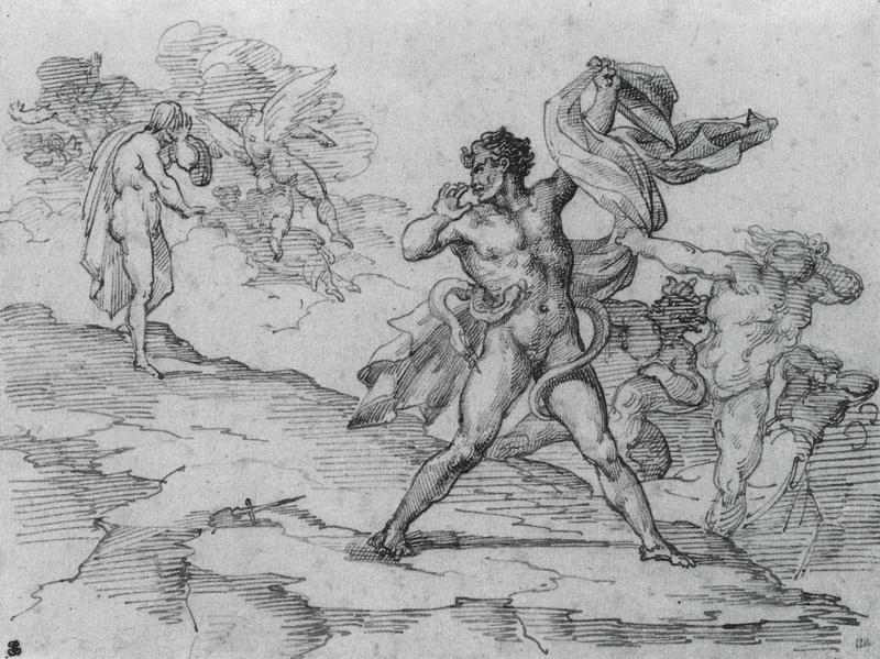 Théodore Géricault, Allegorisches Sujet, um 1818, Feder und braune Tusche, 16,6×21,8 cm, Rouen, Musée des Beaux Arts.