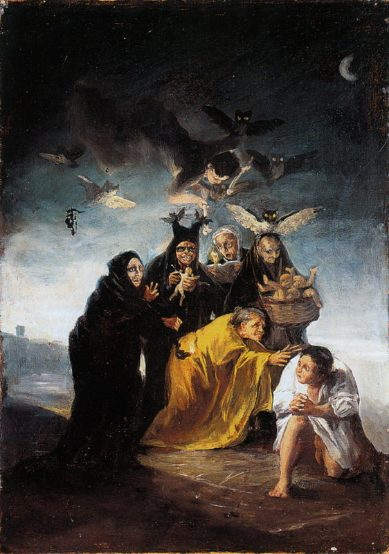 Francisco Goya, The Conjuration (The Witches), 1797-1798, oil on canvas, 43 x 30 cm, Fundación Lázaro Galdiano, Madrid. (Photo: Fundación Lázaro Galdiano, Madrid)