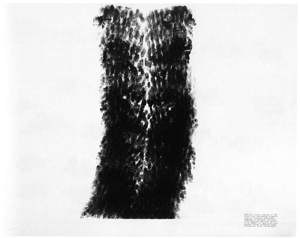 Robert Morris, Blind Time I, 1973, Graphitpulver und Leinöl auf Papier, 89 x 117 cm.