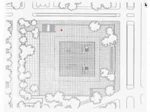 Mies Van Der Rohe Neue Nationalgalerie Grundriss Des Erdgeschosses Mit Eingezeichnetem Berlin Block