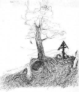 Abb. 1: Andrei Tarwkowski, Zeichnung für Ebbo Demant, 1984.