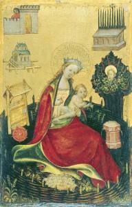 Abb. 3: Unbekannter Deutscher Meister aus Westphalen, Jungfrau mit Kind im Hortus Conclusus, ca. 1410, Madrid, Museo Thyssen-Bornemisza.