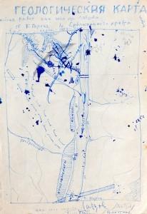 Andrei Tarkowski, Geologische Karte des Kurejka-Flusses in Sibirien, 1953 – 1954.