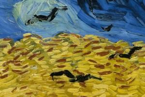 Vincent van Gogh, Krähen über dem Kornfeld (Detail), Juli 1890, Öl auf Leinwand, 50,5 x 103 cm, F 779, Amsterdam, Van Gogh Museum.