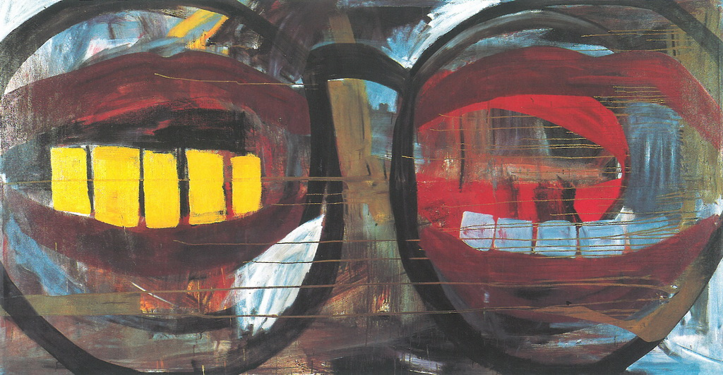 Abb. 1: Albert Oehlen, The Critic Sees, 1988, Öl auf Leinen, 200 x 380 cm.