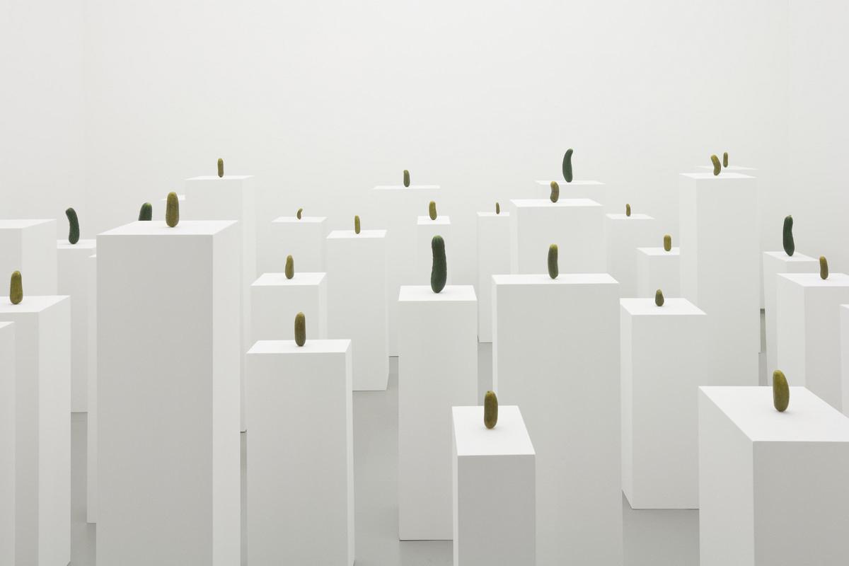 Abb. 2: Erwin Wurm, Selbstporträt als Essiggurkerl, 2008, Acryl, Acryllack, lackierte Holzpodeste, 36-teilige Installation, Dimensionen variabel, Museum der Moderne, Salzburg.