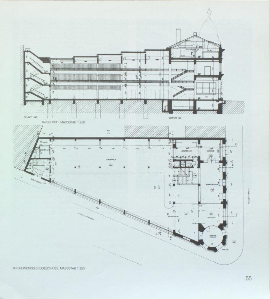 Abb. 2: Schnitt und Grundriss der Bankfiliale Am Spitz 11.