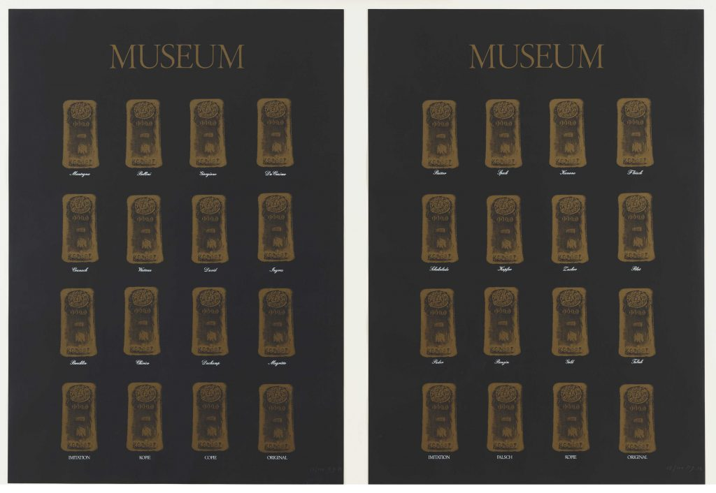 Fig. 3: Marcel Broodthaers, Museum-Museum, 1972, two screenprints, each 83 x 59.1 cm; publisher: Edition Staeck, Heidelberg; printer: Gerhard Steidl, Göttingen; edition of 100, The Museum of Modern Art, New York, The Associates Fund, 1991.